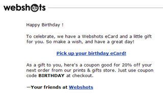 Webshots birthday coupon