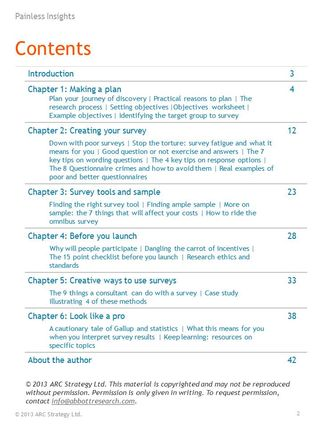 Secrets to Successful Surveys Table of Contents